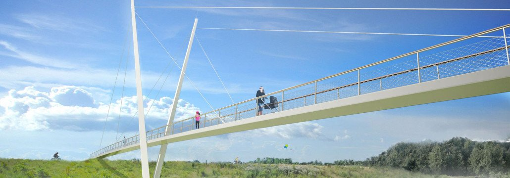 slender bridge, Heidekamp Bridge, Stein, the Netherlands, bridge design by ipv Delft, visualisation
