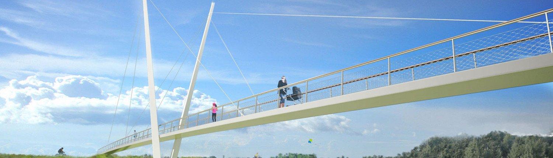 slender bridge, Heidekamp Bridge, Stein, the Netherlands, bridge design by ipv Delft, visualisation