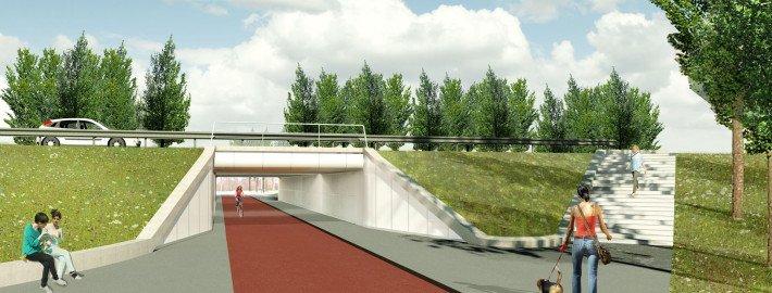 visualisation portal Poort Neerbosch, intersection reconstruction, design by ipv Delft