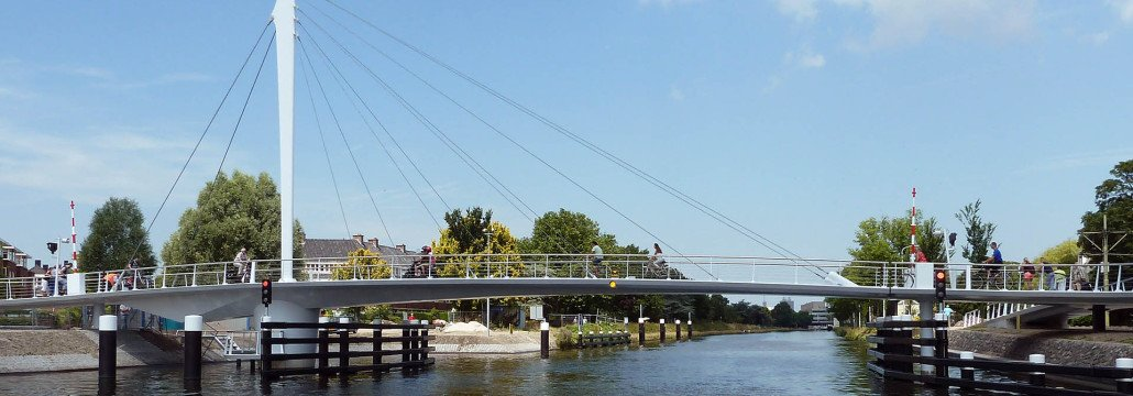 swing bridge with steel pylon, Rijswijk, the netherlands, modern movable bridge