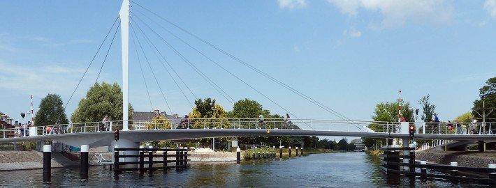swing bridge with steel pylon, Rijswijk, the netherlands, modern movable bridge