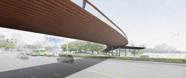 bridge China Ningbo, visualisation, bridge design by ipv Delft