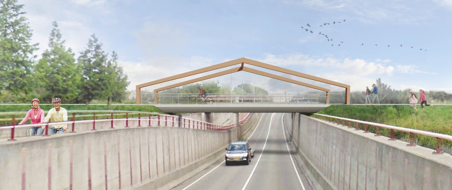 visualisation bridge Weideveld, day view, total side view, bridge design by ipv Delft