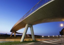 Heerhugowaard bicycle bridge, lower view by night, bridge design by ipv Delft