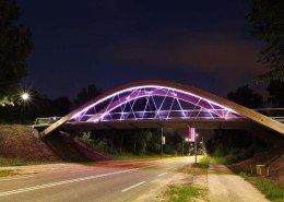 bycicle steel bridge Hofstraat, total view by night, bridge design by ipv Delf.t