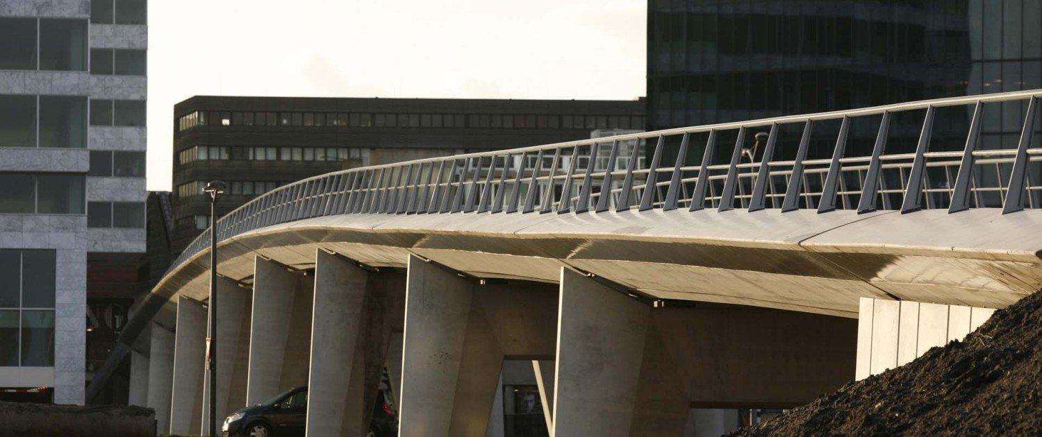 bus bridge, traffic bridge concrete Almere, design by ipv Delft