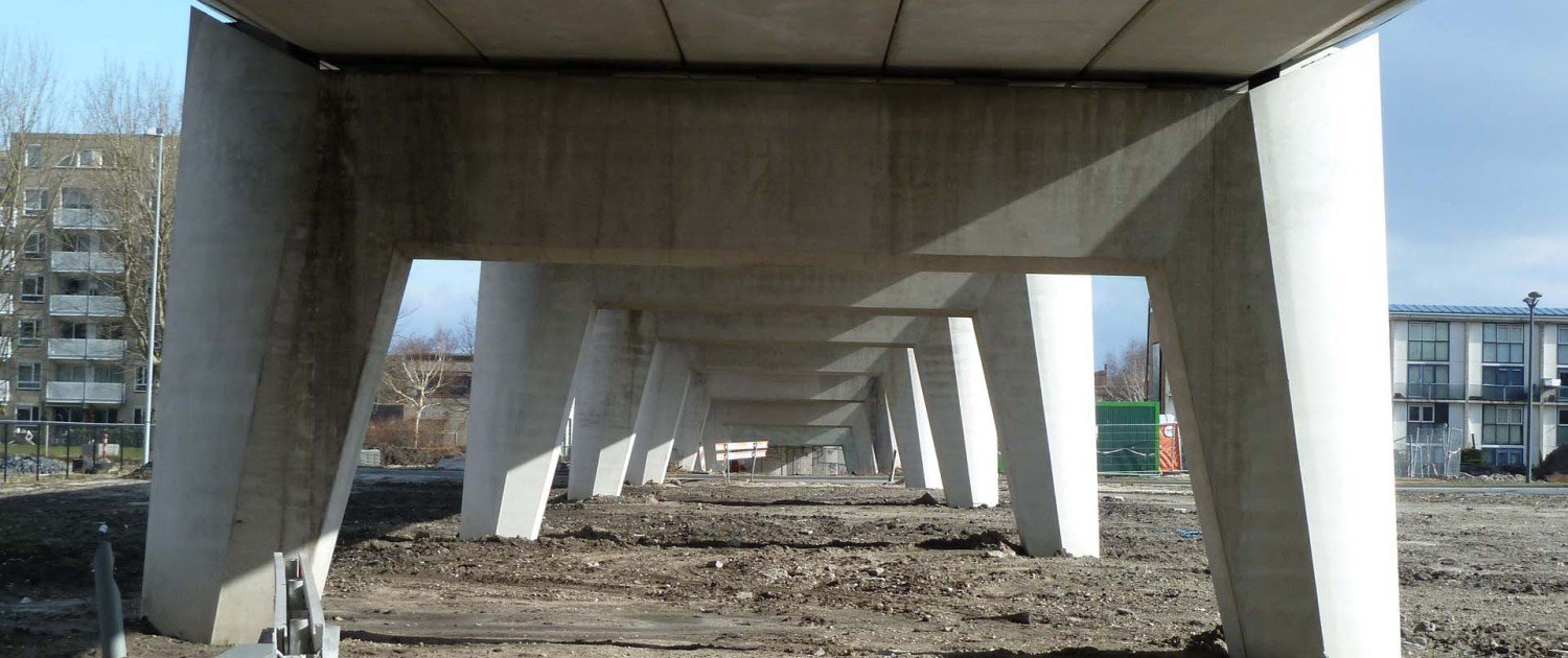 lower view from concrete bridge Almere, bridge has been designed by ipv Delft