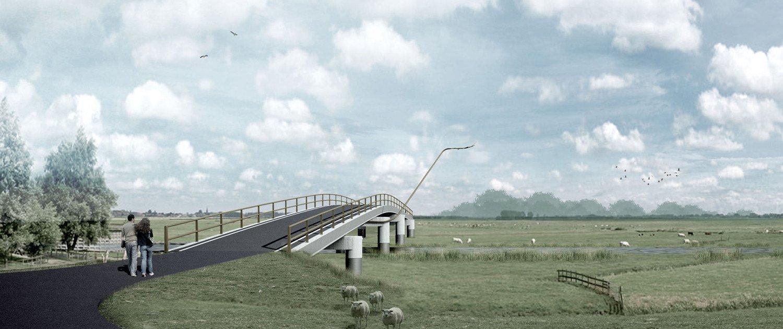 visualisation creek bridge Noordwaard, design by ipv Delft