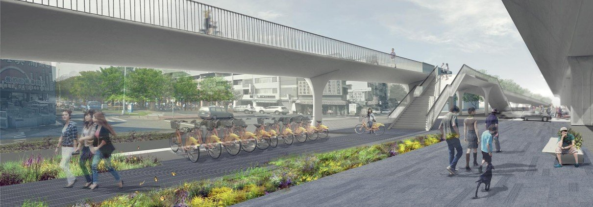 bridge design Taichung bridge, visualisation, design by ipv Delft