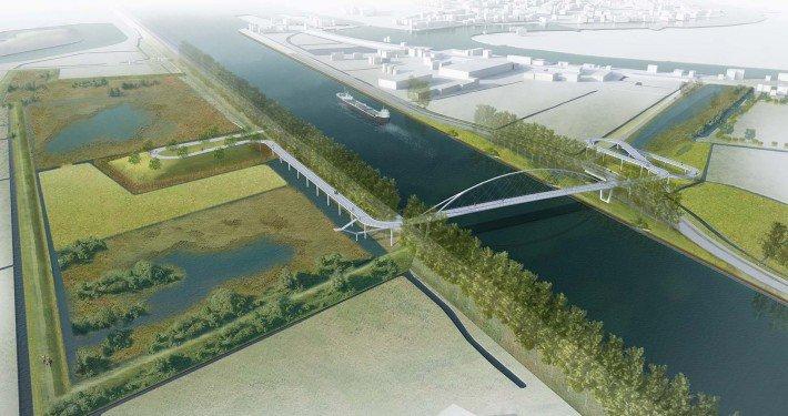 bird view on cycle bridge Nigtevecht, modern slender bridge
