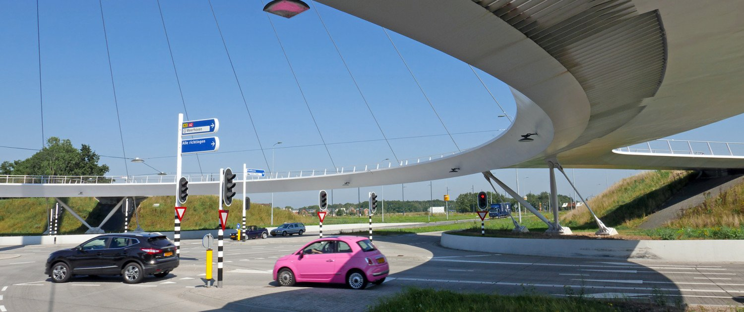 Hovenring Einhoven in daylight, cycle bridge with pilar above higway