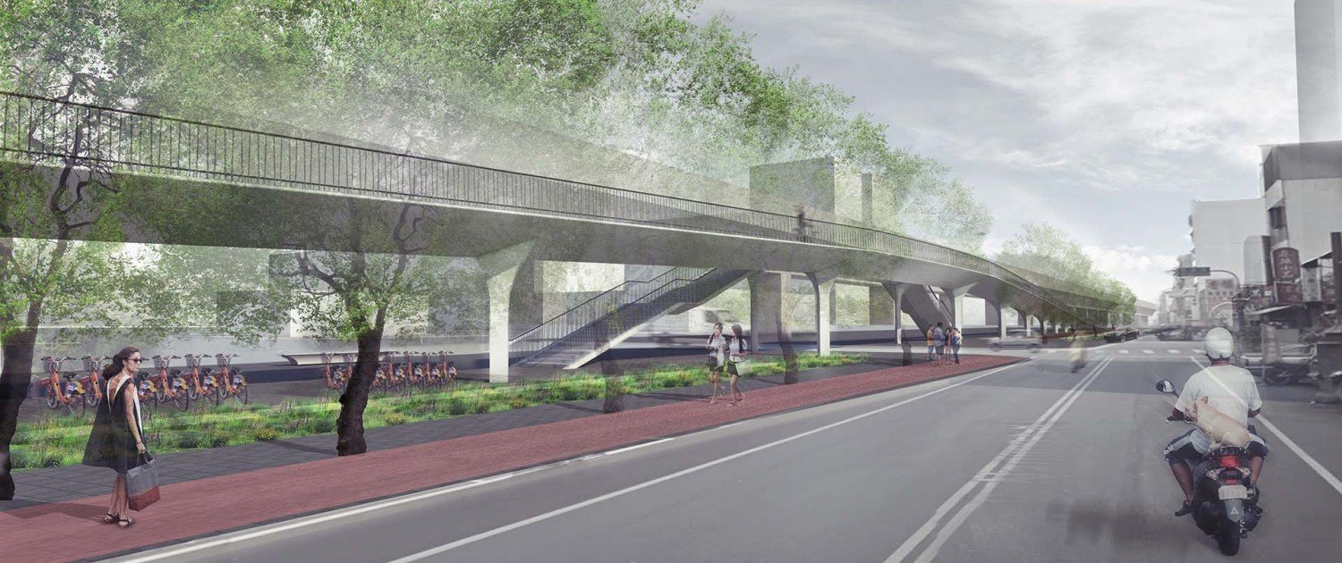 side view of bridge design foot and cycle bridge in Taichung City, Taiwan, design by ipv Delft