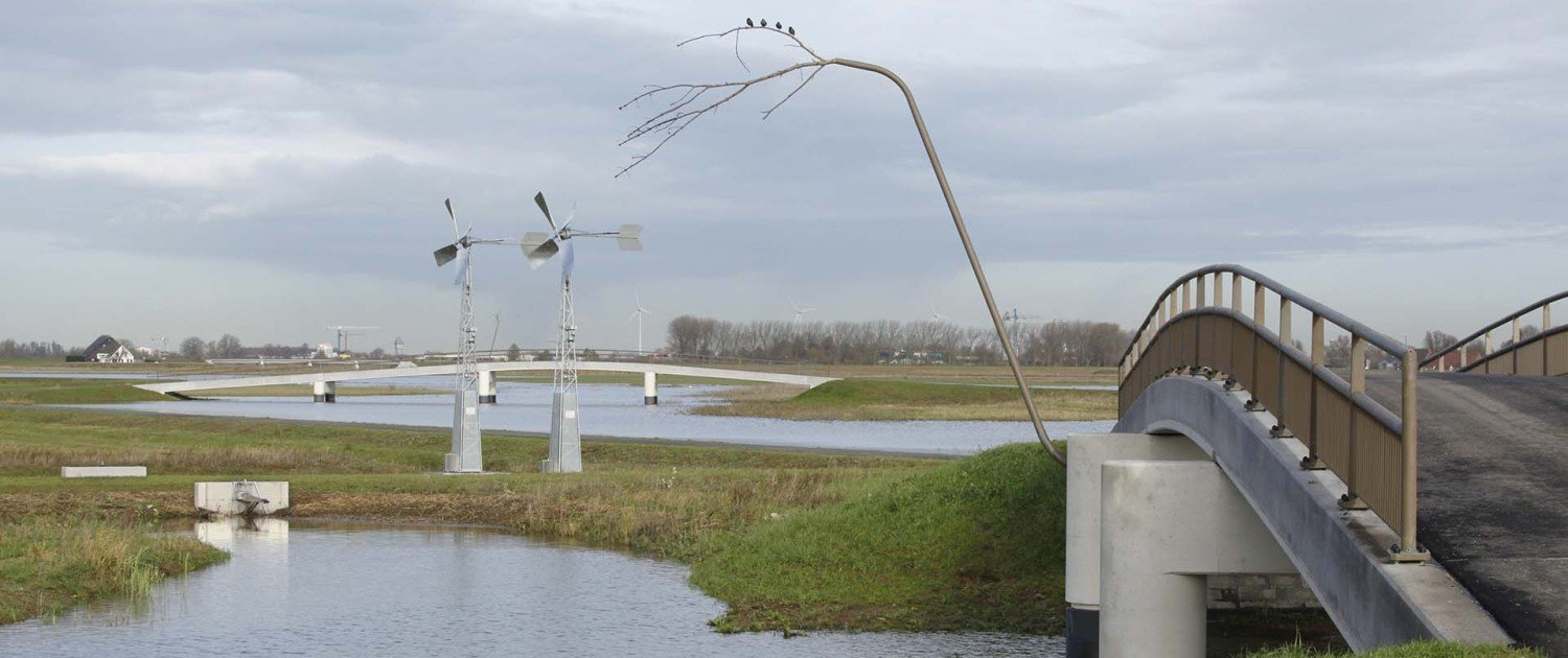 traffic bridge Noordwaard with concrete pilars and detail with nature elements