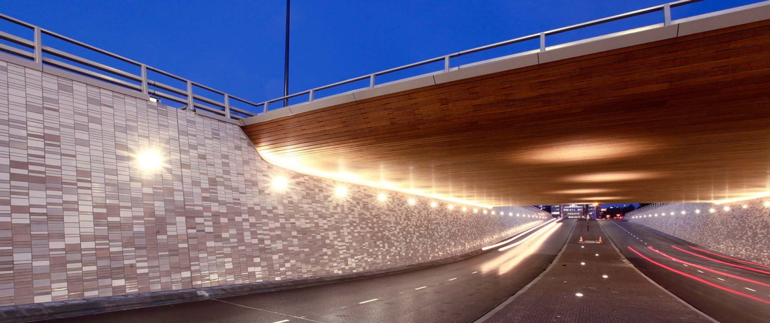 Underpasses with lighting at night Plesmanlaan Bio Science Park ipv Delft