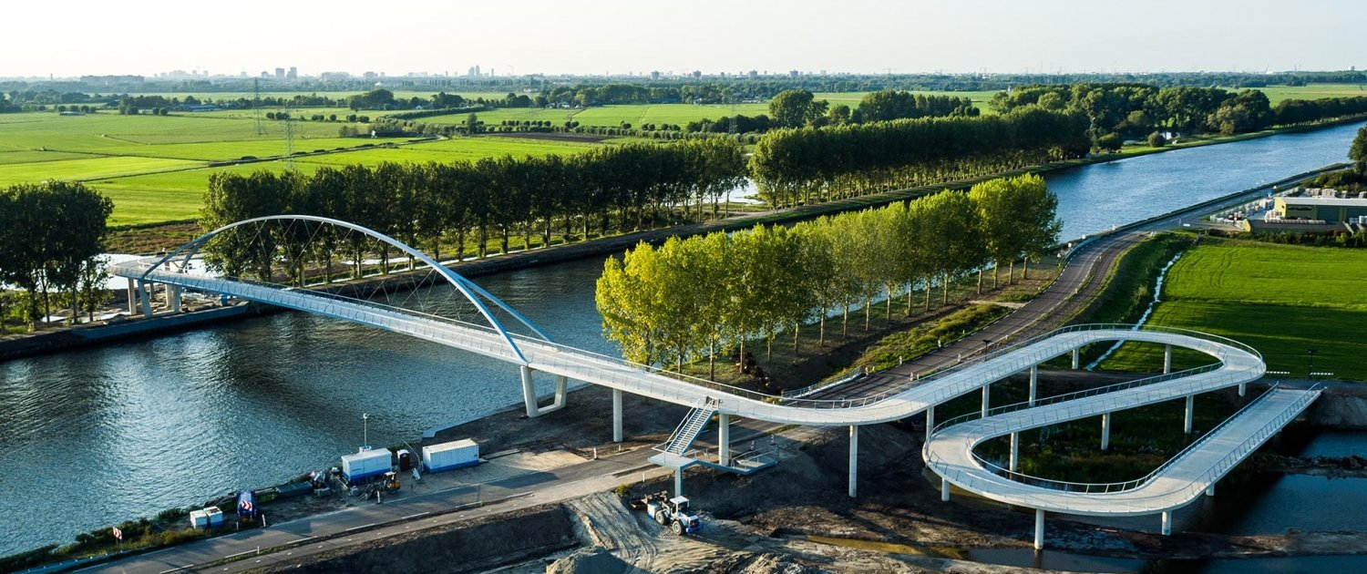 aerial photo Nigtevecht bicycle bridge steel arch bridge concrete slopes