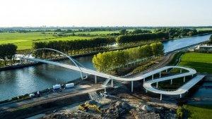 aerial photo Nigtevecht bicycle bridge steel arch bridge concrete slopes