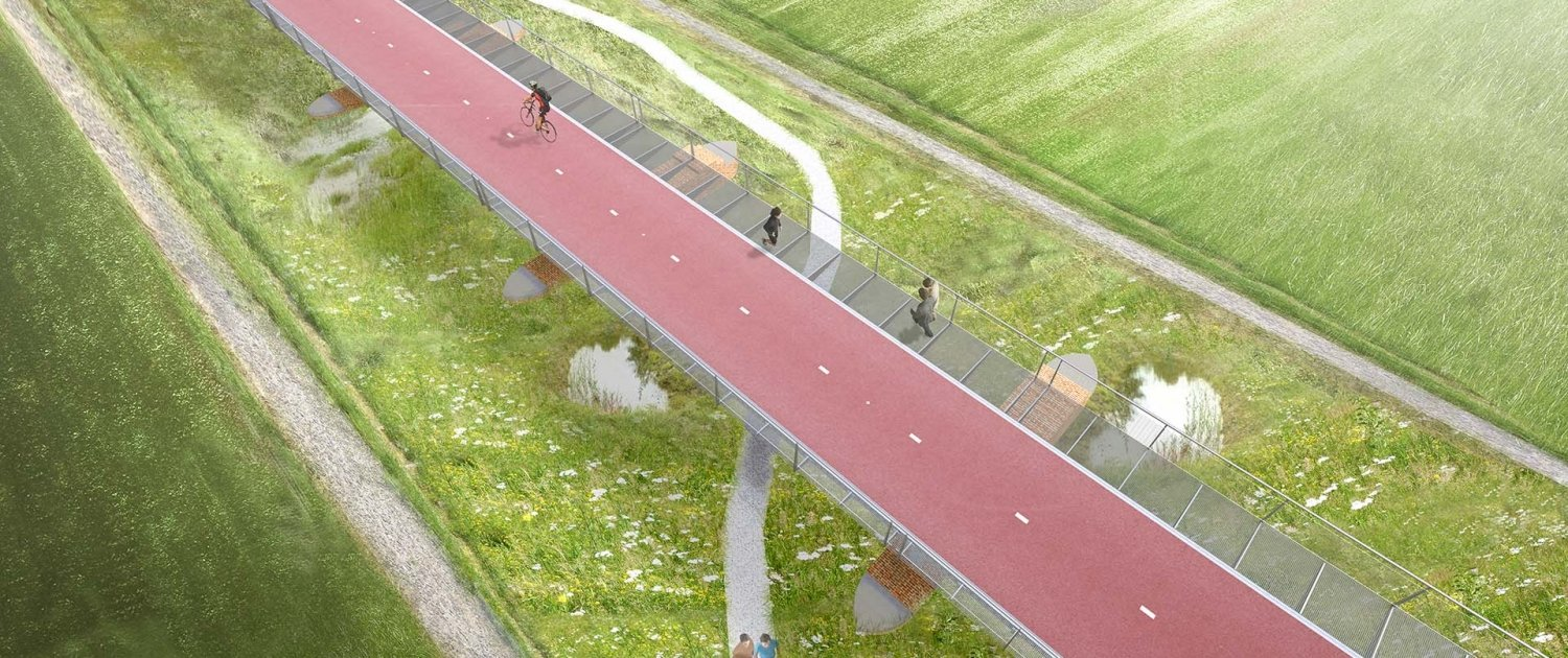 top view bycicle bridge Baardwijkse Overlaat