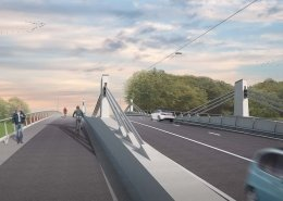 cyclist view of new Bergwijk Bridge Merelbeke artist impression
