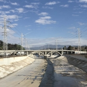 LA River view from N. Main Street towards north